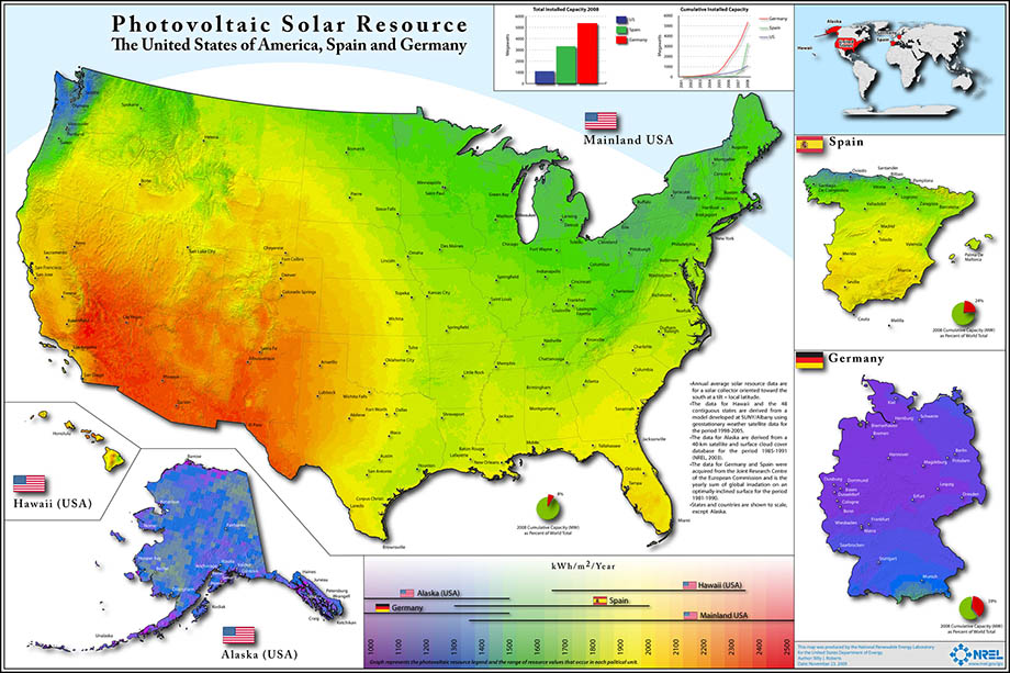 A solar resource map from the National Renewable Energy Laboratory