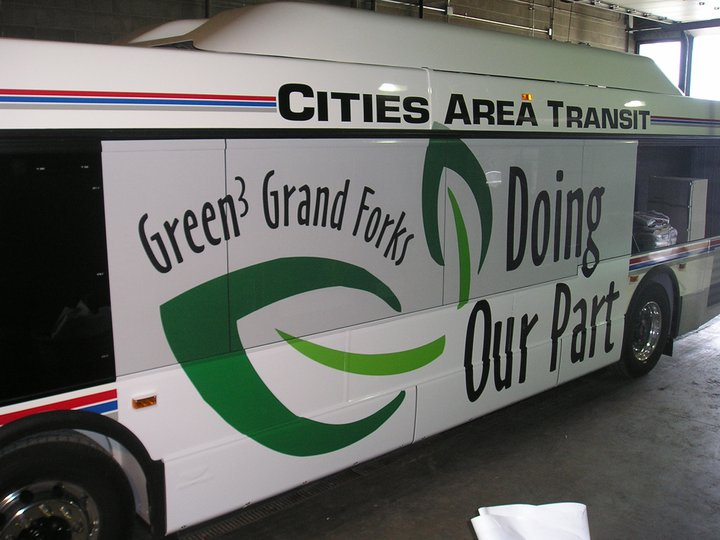Have you seen one of Green3 Grand Forks' hybrid diesel buses? 2011 data showed that they outperformed standard diesel buses by .93 miles per gallon and had an annual cost savings of over $10,000. One hybrid bus will reduce carbon emissions by estimated 175 tons over a ten-year period!