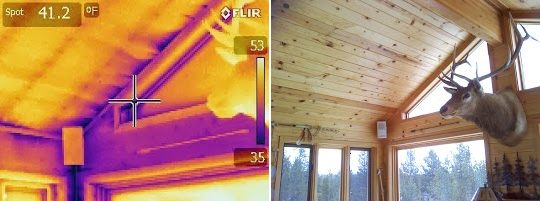 Infrared scanning is used in an home energy assessment to detect air leaks and thermal defects.